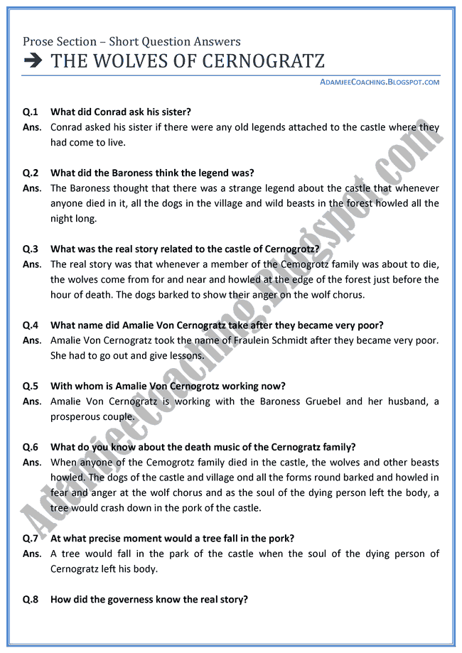 English-XI-The-Wolves-of-Cernogratz-short-question-answers