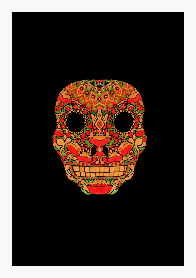 Skull in Khokhloma Style Watercolor Illustration by Haidi Shabrina
