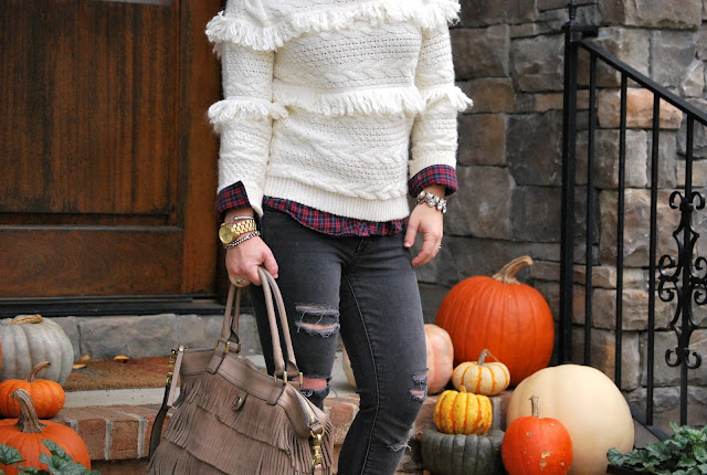 JOA Fringe Sweater, Shopbop sweater, how to style a fringe sweater