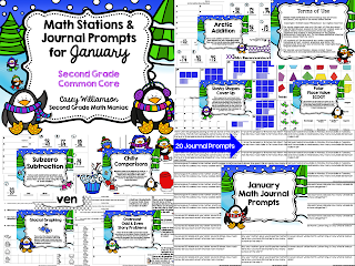 http://www.teacherspayteachers.com/Product/Math-Stations-and-Journal-Prompts-for-January-Second-Grade-Common-Core-1019982