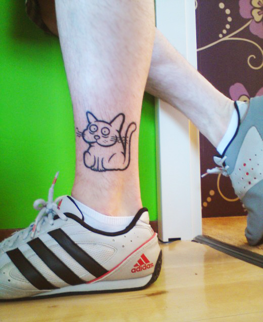 Cats Leg And Ankle Tattoos For Girls