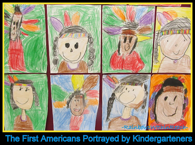 photo of: Bulletin Board of Kindergarten Drawings of Indians in a Celebration of Thanksgiving via RainbowsWIthinReach