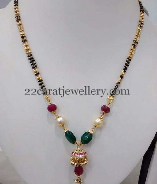Black Beads Set with Jhumka