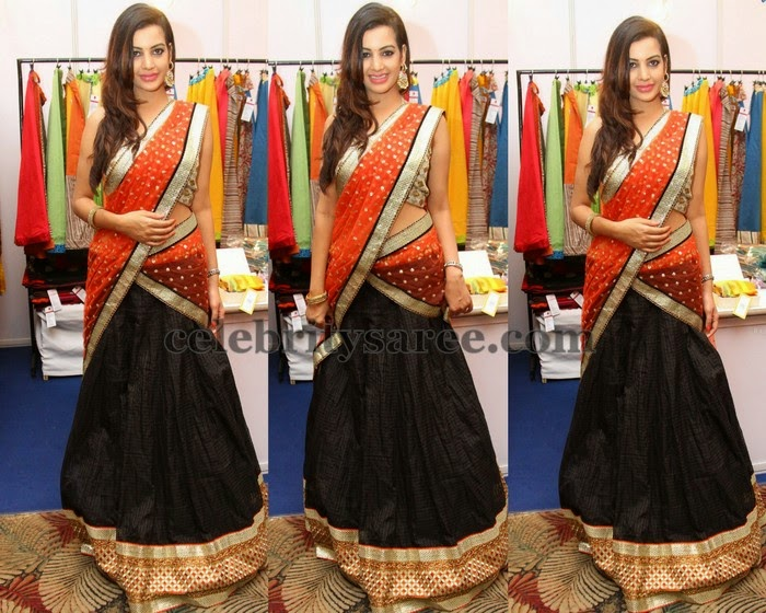 Diksha Panth Black Half Saree