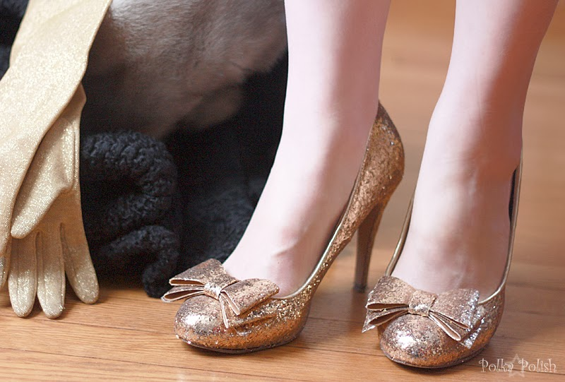 Glittery gold pumps by Cathy Jean