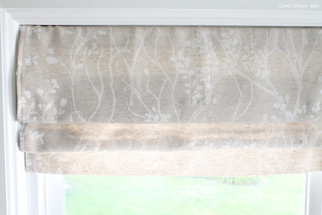 How to make a faux roman shade love grows wild for Curtains that look like roman shades