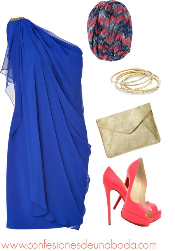 Vestido azul marino zapatos rosas