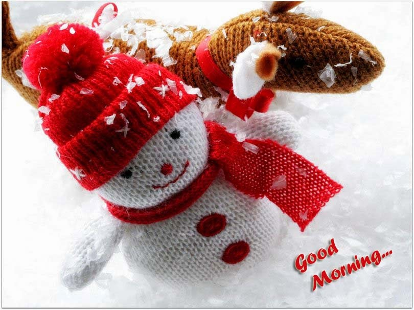 Good Morning With Cute Snowman