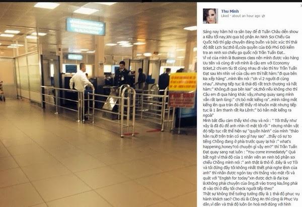 Thu Minh bức xúc vì bị đối xử thô lỗ tại sân bay 1