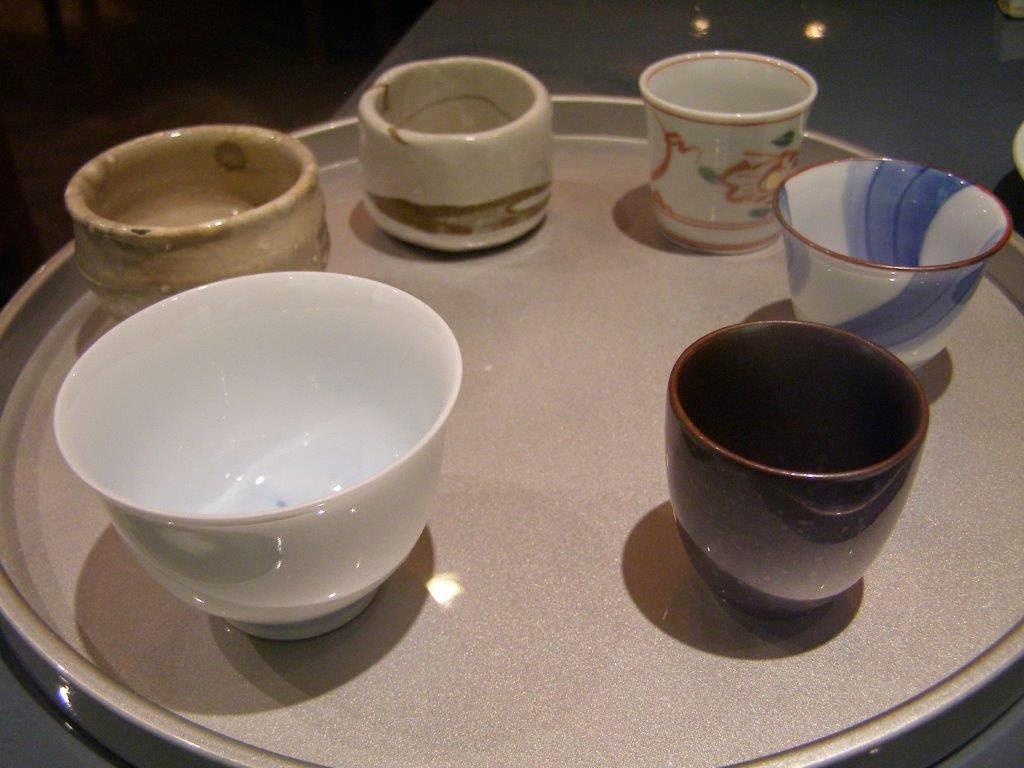 a set of porcelain sake cups