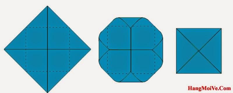 Bước 4: Ta tiếp tục gấp 4 góc của hình tứ giác vào trong, cách gấp giống như hình thứ 2 bên dưới. Ta được một hình vuông.