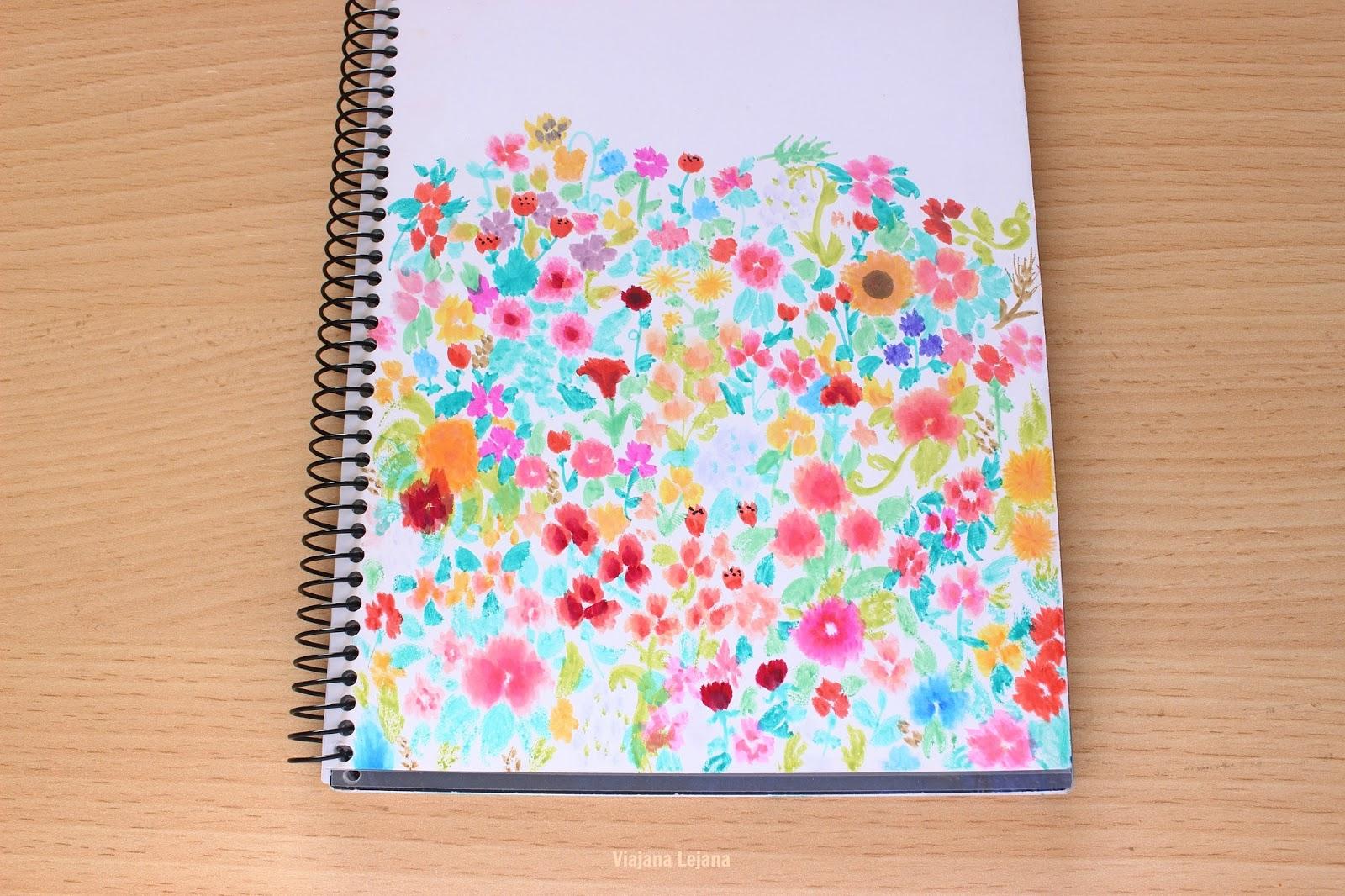 Estampado floral con rotuladores efecto acuarela   Viajana Lejana