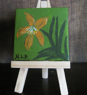 Retro Lily Mini Painting Free Easel  by ArtbyNancyPace