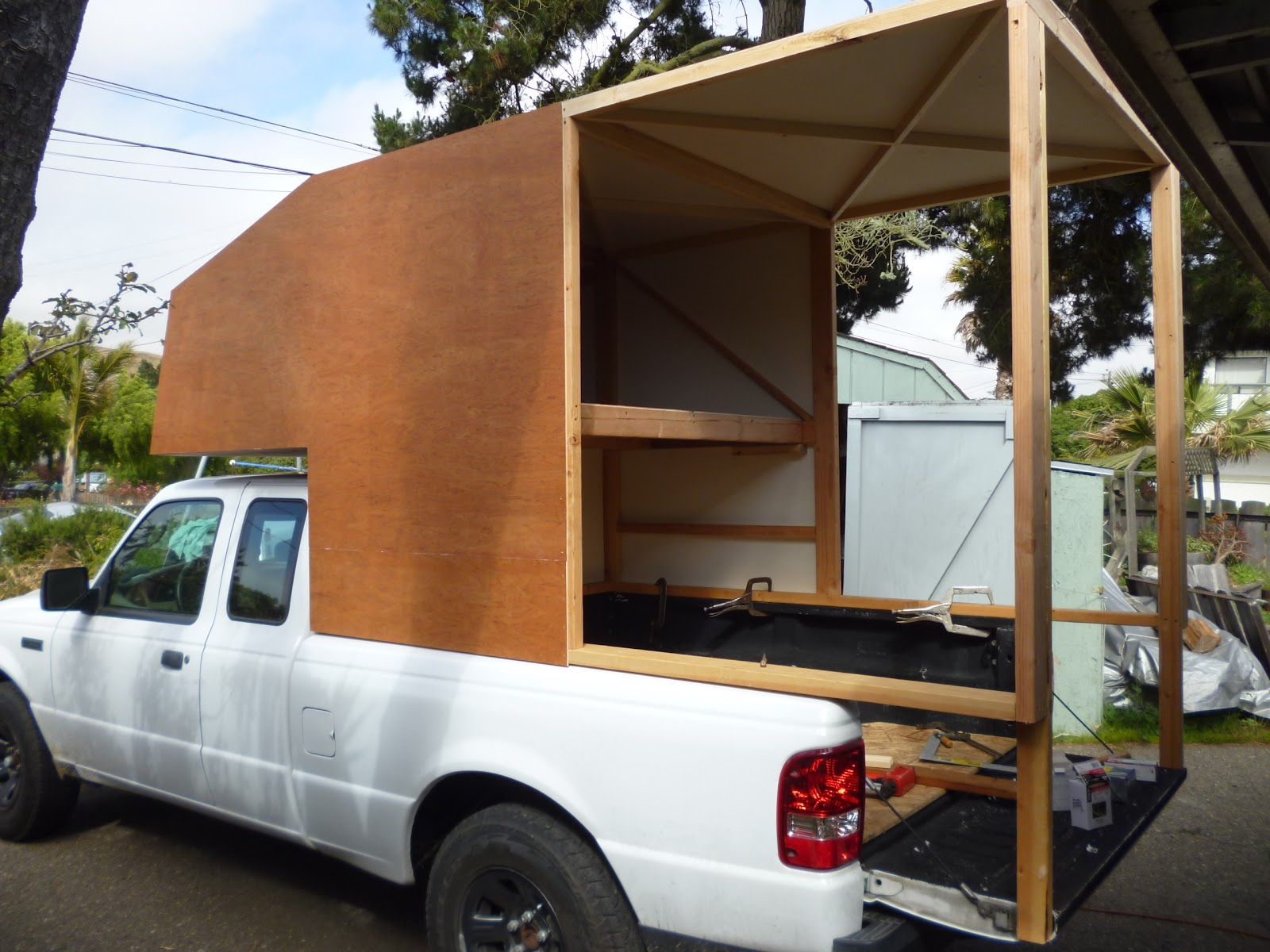 ranger cab over camper build continues ford ranger cabover vacation. Black Bedroom Furniture Sets. Home Design Ideas