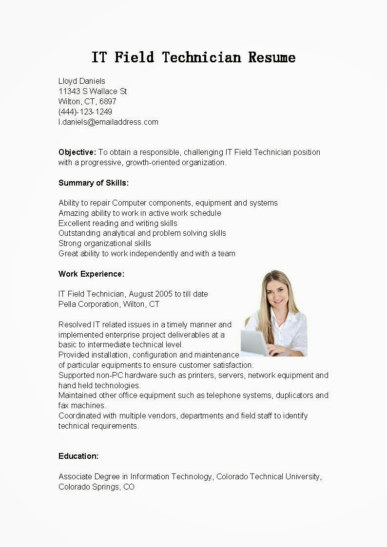 Resume Samples It Field Technician Resume Sample