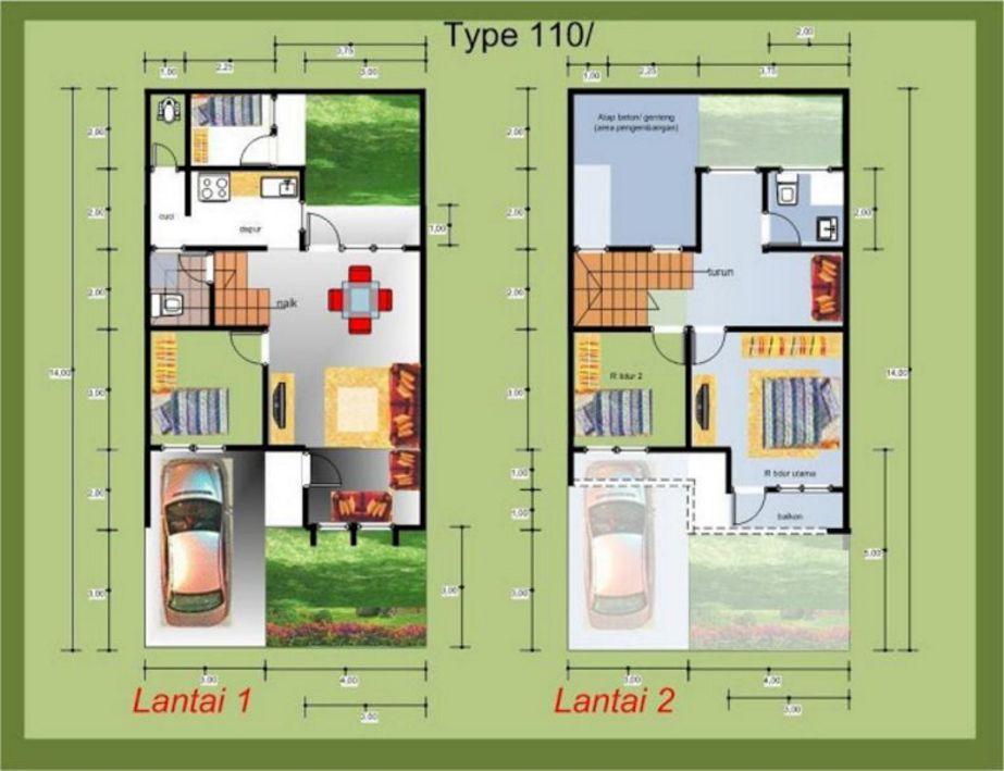 gambar denah 2 lantai type 100 7x12 terbaru