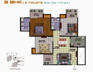 Amrapali Kings Wood :: Floor Plans 3 BHK + 2 T