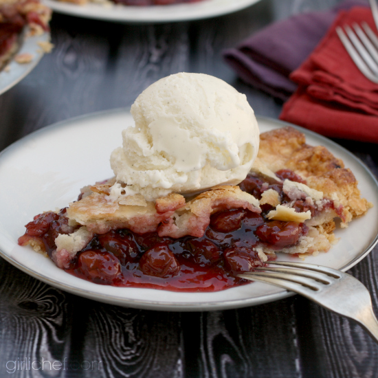 Cherry Pinot Noir Pie by @girlichef