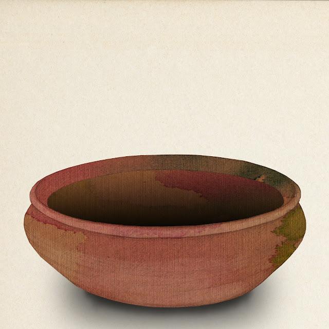 cazuela de barro, coleccion museo de etnologia, valencia, dibujo
