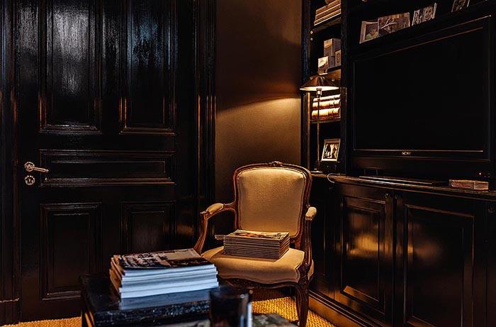 ideas decoracion-salon negro y chic -dark living room