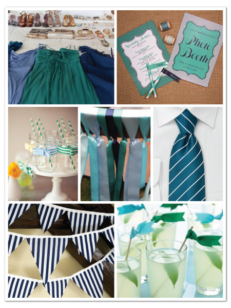 striped turquoise blue modern fun contemporary wedding inspiration board