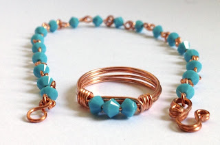 Turquoise Crystal Wire Wrapped Bracelet and Ring Set