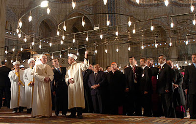 Pope John Paul II at a Turkish Mosque among Muslim clerics