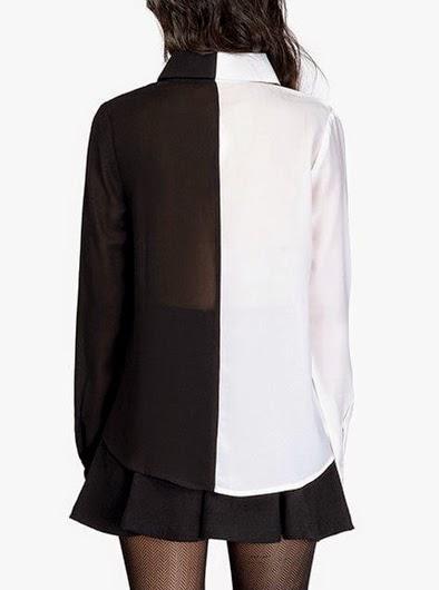 Blusa de Gasa con un Lado Blanco y uno Negro