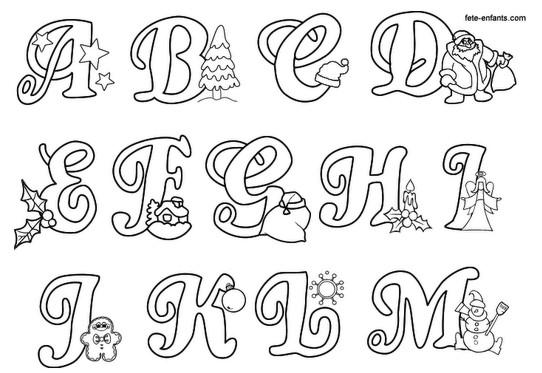 Prof ananda alfabeto de natal para colorir - Formas de letras para decorar ...
