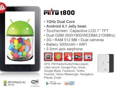 Mito T800 Harga Dan Spesifikasi, specs, price, tablet android jelly bean murah