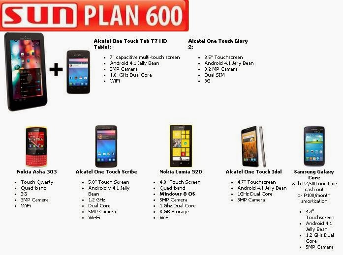 sun cellular plan 600 free phones and tablets