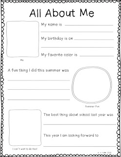 Dynamic image throughout all about me printable worksheets