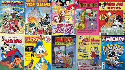 Montagem com capas de revistas Disney pelo mundo