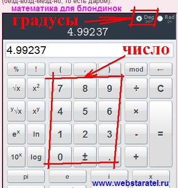 Как найти угол по тангенсу. Угол в градусах на калькуляторе. Как ввести число на калькуляторе. Математика для блондинок.