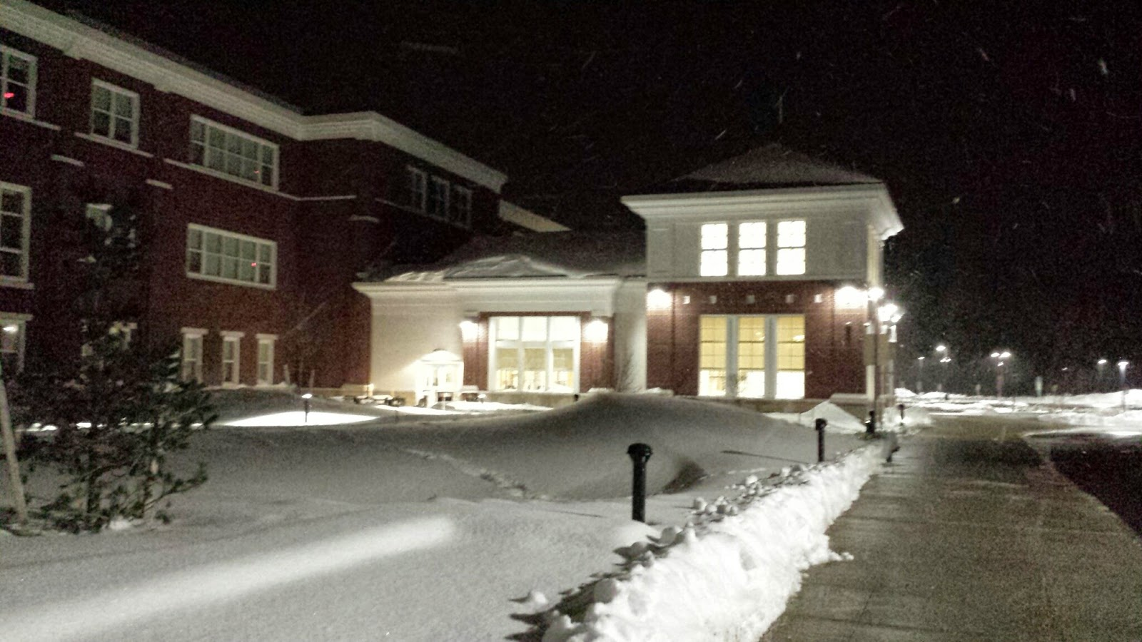 Franklin High School on a winter's night