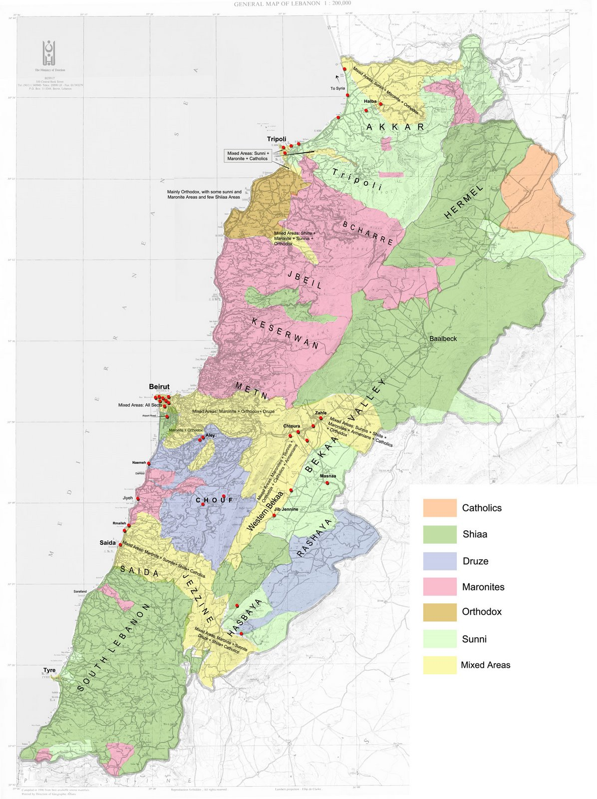 Lebanon map political regional