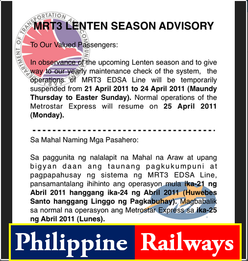 mrt 3 advisory on holy week season