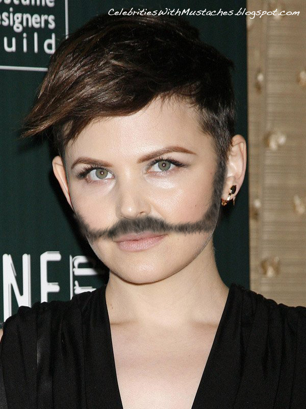 Celebrities with Mustaches- Ginnifer Goodwin