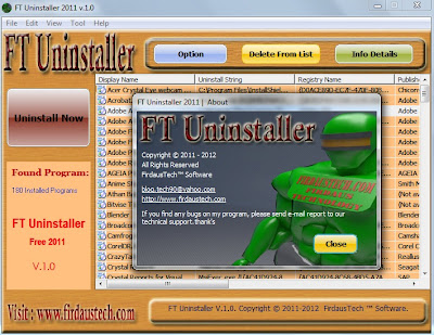 Screenshoot, Link MediaFire, Download FT Uninstaller 2011 FreeWare From FirdausTech With Portable | Software Untuk Membuat Font | Lisense | Keygen  | Link Mediafire