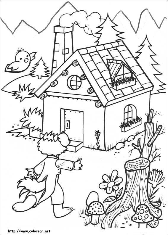 Imagen el Lobo Feroz y La casa de los Tres Cerditos para Colorear ...