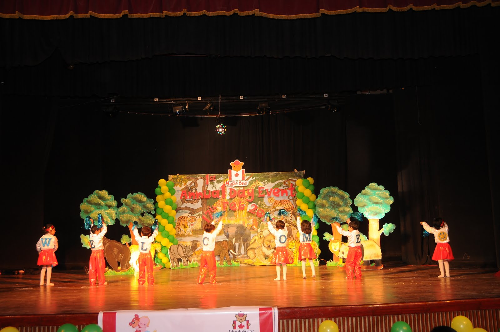 Child care parents role annual day event for Annual day stage decoration images