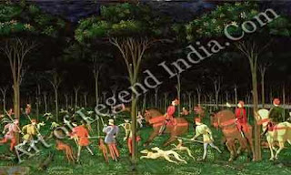 "The Great Artist Paolo Uccello Painting ""The Hunt at Night"" c.1460-65 25½"" x 65"" Ashmolean Museum, Oxford"