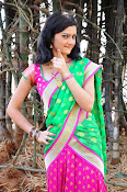 Pujitha sizzling in half saree-thumbnail-10