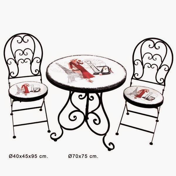juego de mesas y sillas forja