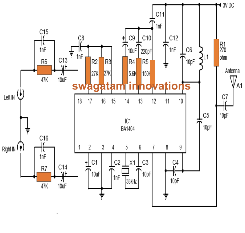 make this stereo fm transmitter using ic ba1404 With transmitter circuit
