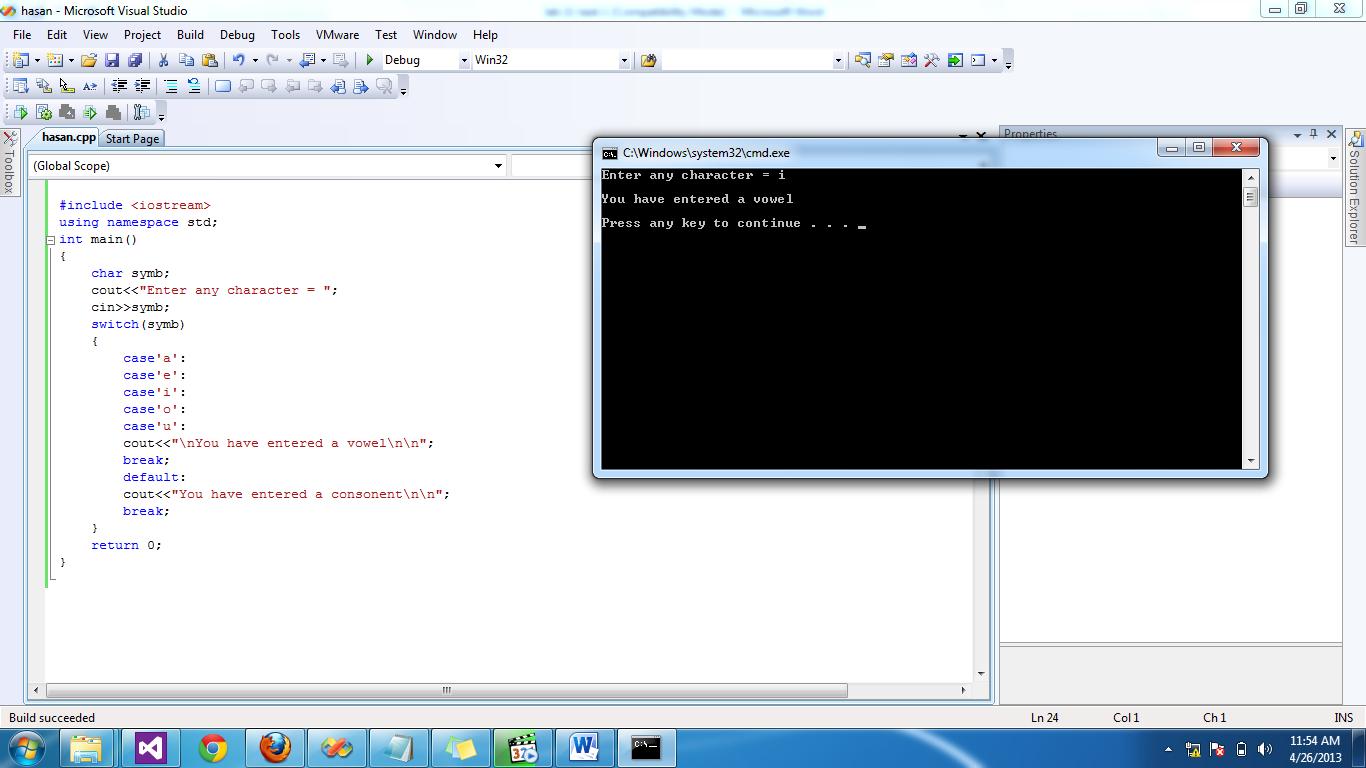 vowel selector program in C++