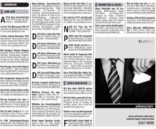 Lowongan kerja koran kompas senin 25 Februari 2013