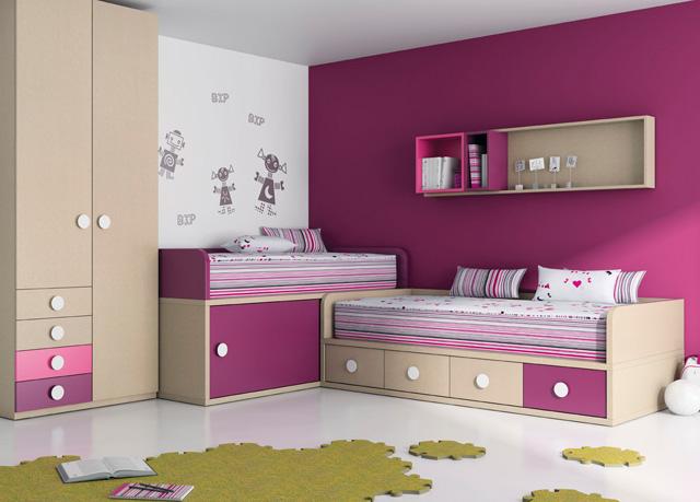 Como decorar un dormitorio juvenil - Habitacion infantil dos camas ...