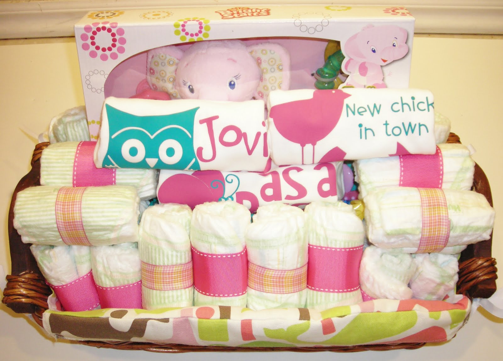 life in the motherhood baby shower gift basket  for a baby girl, Baby shower