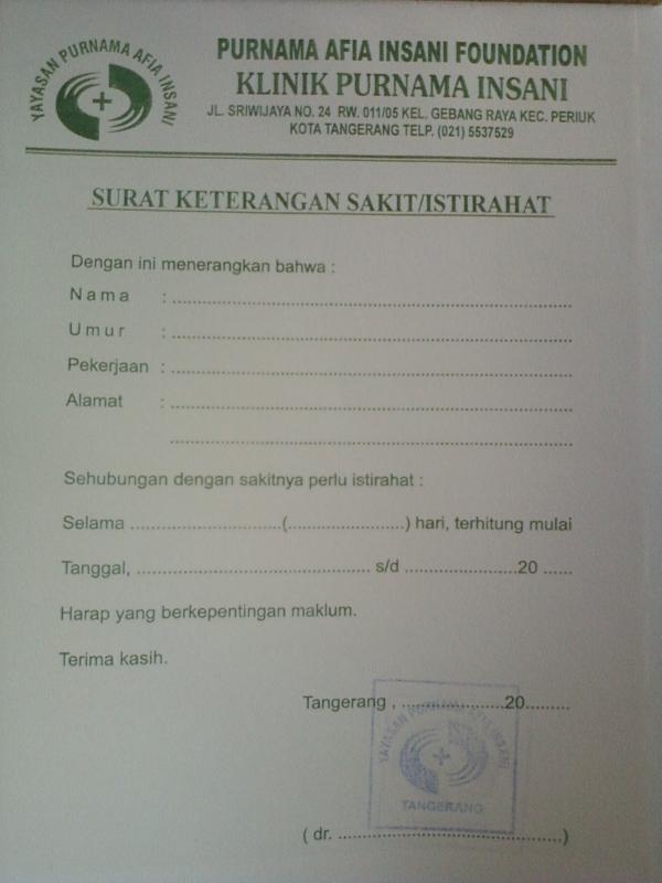 Contoh Surat Dokter Kosong Tangerang Surat 20